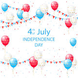 Independence day balloons. Independence day background with colorful balloons, pennants and confetti, illustration Royalty Free Stock Image