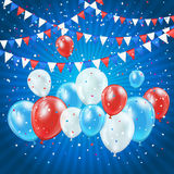 Independence day balloons and confetti. Independence day blue background with balloons, pennants and confetti, illustration Stock Photos