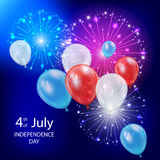 Independence day balloons and fireworks Royalty Free Stock Images