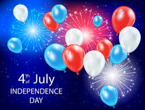 Independence day balloons and fireworks in the sky. Independence day background with colored balloons and fireworks in the blue sky, USA Independence day theme 4 Royalty Free Stock Photo