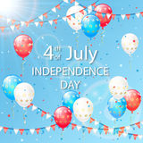 Independence day balloons and pennants. Blue sky with holiday balloons and colorful pennants on Independence day background, illustration Royalty Free Stock Images