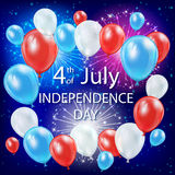 Independence day balloons in the sky. Independence day background with colored balloons and fireworks in the night sky, USA Independence day theme 4th of july Royalty Free Stock Photo
