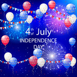 Independence day balloons and tinsel. Independence day background with balloons, pennants and fireworks, illustration Stock Photo