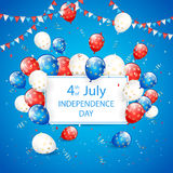 Independence day balloons and tinsel on blue holiday background. Independence day background, USA Independence day theme 4th of july with card, flying colorful Royalty Free Stock Images