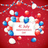 Independence day balloons and tinsel on red holiday background. USA Independence day. Theme 4th of july with white card, flying colorful balloons, pennants and Stock Images