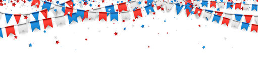 Independence Day banner with flags. USA Independence Day banner with flags and stars. Vector paper illustration stock illustration
