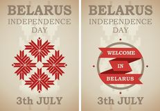 Independence Day of Belarus in the national style. Celebration poster of Independence Day of Belarus in the national retro style Stock Photography