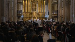 Independence day Bicentennial celebrations mass in Buenos Aires Cathedral, Priest addresses to the crowd stock footage