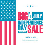 Independence day big sale banner. 4th july special offer background for business, commerce and advertising. Stock Photo