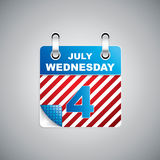 Independence Day calendar. Independence Day - Fourth July Calendar Date vector illustration