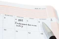 Independence day on calendar Stock Images