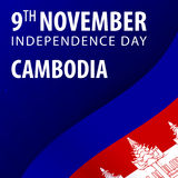 Independence day of Cambodia. Flag and Patriotic Banner. Vector illustration. Royalty Free Stock Photo