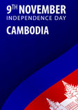 Independence day of Cambodia. Flag and Patriotic Banner. Vector illustration. Royalty Free Stock Image