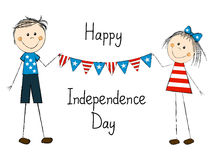 Independence day card with children Royalty Free Stock Photography
