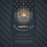 Independence Day card. 4th of July. Gold star and greeting inscription on the background of the USA flag. Happy Independence Day. Vector illustration Royalty Free Illustration