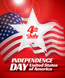 Independence day card. Independence day 4 th july card. Patriotic symbol holiday poster Stock Photos