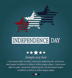 Independence Day card. 4th Of July. Red, white and blue stars on blue textured background Stock Image