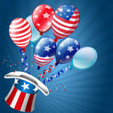 Independence Day Card. Uncle sam hat with colorful balloons Stock Photography