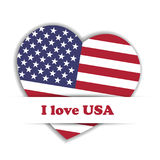 Independence Day Card. US flag in a shape of heart in the paper pocket with label I love USA. Patriotic independence Stock Photography