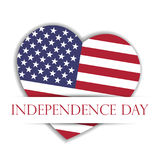 Independence Day Card. US flag in a shape of heart in the paper pocket with label Independence Day. USA 4th of July. Theme. Vector illustration Stock Photography