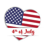Independence Day Card. US flag in a shape of heart in the paper pocket with label 4th of July. Patriotic USA. Independence theme. Vector illustration Stock Image