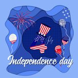 Independence day celebration background with shadows effects. Independence day celebration background with paper cut and shadows effects stock illustration