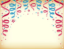 Independence day celebration card with streamers. Vector of celebration card with colorful ribbon stock illustration