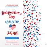 Independence day celebration. Fourth of July.Traditional American holiday greeting card, poster, flyer. Patriotic banner. Template. July 4th typographic design Royalty Free Stock Image