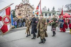 Independence Day Celebrations in Poland. Siedlce, POLAND 11 NOVEMBER, Polish Independence Day Parade on 11 November 2013 in Siedlce, Poalnd royalty free stock photography