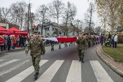 Independence Day Celebrations in Poland. Siedlce, POLAND 11 NOVEMBER, Polish Independence Day Parade on 11 November 2013 in Siedlce, Poalnd stock photography