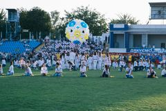 Independence Day celebrations at the stadium in the city of Cherkasy August 24, 2018 royalty free stock images