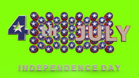 Independence day with chroma key Background. 3 d animation stock video footage