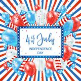 Independence day colored background with card and balloons. Independence day striped background with balloons, rocket fireworks and banner with lettering 4th of Stock Illustration