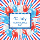 Independence day colored background. With card and balloons, USA Independence day theme 4th of july, illustration Royalty Free Stock Images