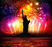 Independence Day Colorful Poster. With  statue of liberty silhouette on bright festive fireworks background realistic vector illustration Stock Photography