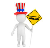 Independence day concept. 3d small person with american hat and. Traffic sign on a white background Stock Photos