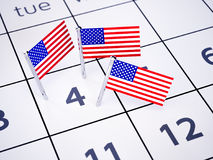 Independence day concept. July 04 pinned on a calendar by american flag pins. Independence day concept. 3d rendering illustration Stock Photography