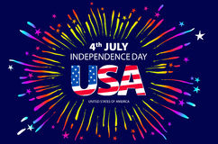 Independence day concept. 4th July independence day with fireworks background. vector Royalty Free Stock Photography