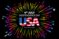 Independence day concept. 4th July independence day with fireworks background. vector. Art royalty free illustration