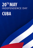 Independence day of Cuba. Flag and Patriotic Banner. Royalty Free Stock Image