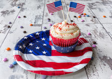 Independence Day cupcake on patriotic plate Stock Photo