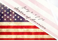 Independence Day declaration with USA flag Stock Photos