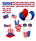 Independence day design elements set in white. Royalty Free Stock Photo