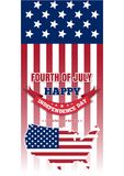 US Independence Day design. Fourth of July. Independence Day design. Fourth of July. United States map on a background the Stars and Stripes. Happy Independence Stock Photography