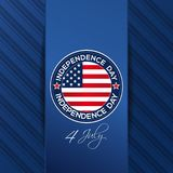 Independence Day design with Us flag. And greeting inscription. 4th of July. Independence Day card. Round logo on elegant blue background. Vector illustration royalty free illustration