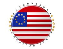 Independence Day and dimensional lettering on white background. Holiday for People in America concept Stock Image