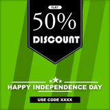 INDEPENDENCE DAY - DISCOUNT IMAGE WITH COUPON CODE royalty free stock photos