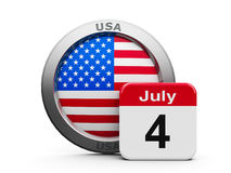 Independence Day. Emblem of USA with calendar button - Fourth of July - represents the Independence day, three-dimensional rendering stock illustration