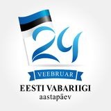 Independence Day Estonia 24 february greeting card. Independence day of Estonia with text Eesti Vabariigi aastapäev 24 Veebruar on national flag vector Stock Photography