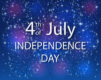 Independence Day with firework on blue background. Colorful starry fireworks on dark sky. 4th of july. USA Independence day background, illustration Royalty Free Stock Image
